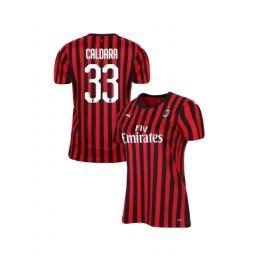 Women's AC Milan 2019-20 Authentic Home #33 Mattia Caldara Red Black Jersey