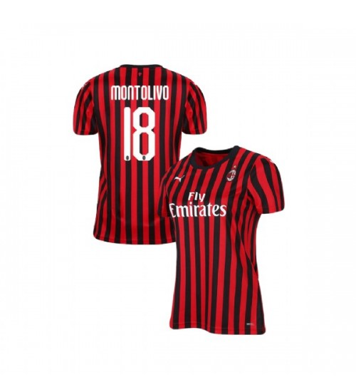 Women's AC Milan 2019-20 Authentic Home #18 Riccardo Montolivo Red Black Jersey