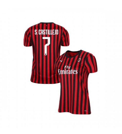 Women's AC Milan 2019-20 Authentic Home #7 Samu Castillejo Red Black Jersey