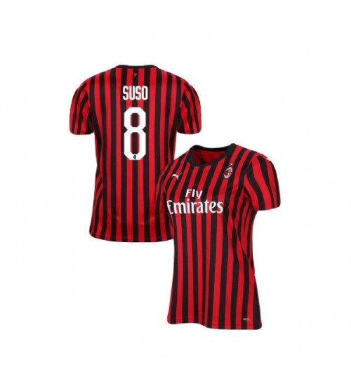 Women's AC Milan 2019-20 Authentic Home #8 Suso Red Black Jersey
