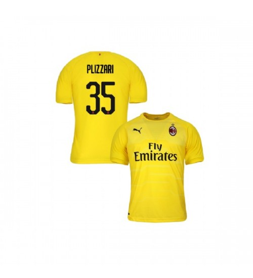 Youth AC Milan 2018-19 Replica Goalkeeper #35 Alessandro Plizzari Yellow Jersey