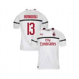 Youth AC Milan 2018-19 Replica Away #13 Alessio Romagnoli White Jersey