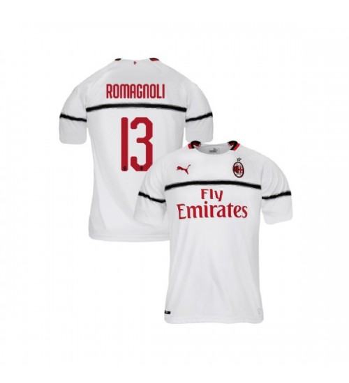 Youth AC Milan 2018-19 Authentic Away #13 Alessio Romagnoli White Jersey