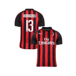 Youth AC Milan 2018-19 Authentic Home #13 Alessio Romagnoli Red Black Jersey