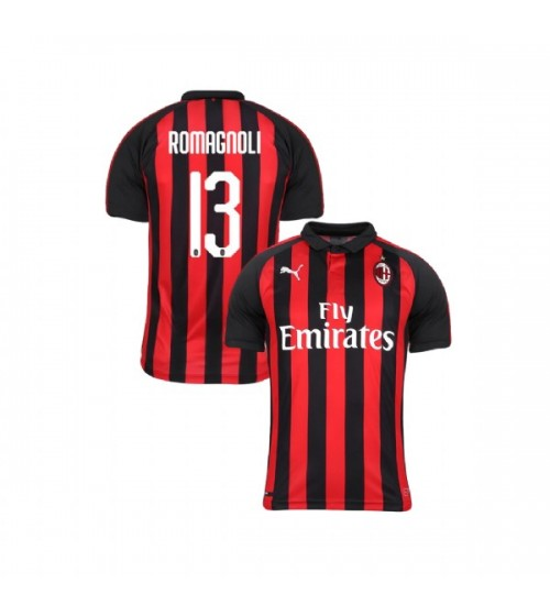 Youth AC Milan 2018-19 Replica Home #13 Alessio Romagnoli Red Black Jersey