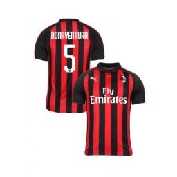 Youth AC Milan 2018-19 Authentic Home #5 Giacomo Bonaventura Red Black Jersey