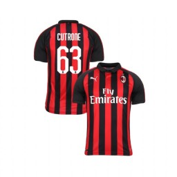 Youth AC Milan 2018-19 Authentic Home #63 Patrick Cutrone Red Black Jersey