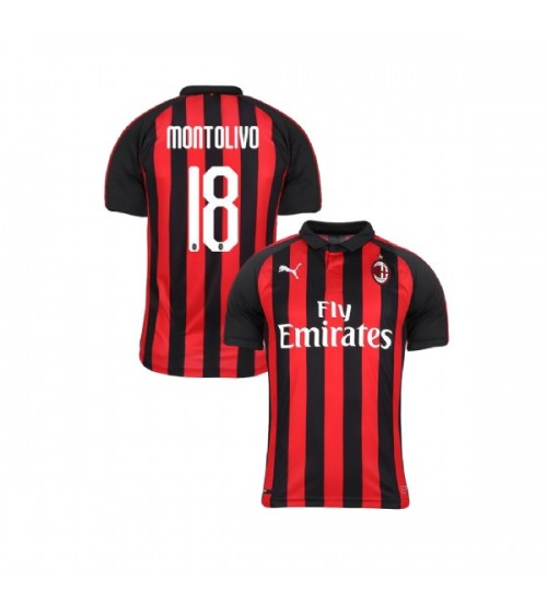 Youth AC Milan 2018-19 Authentic Home #18 Riccardo Montolivo Red Black Jersey