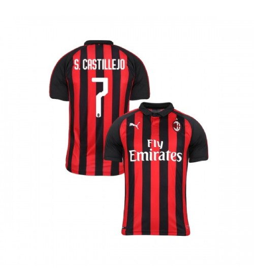 Youth AC Milan 2018-19 Authentic Home #7 Samu Castillejo Red Black Jersey
