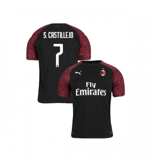 Youth AC Milan 2018-19 Replica Third #7 Samu Castillejo Black Jersey