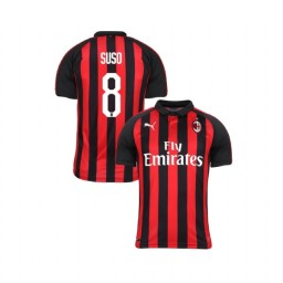 Youth AC Milan 2018-19 Authentic Home #8 Suso Red Black Jersey