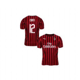 Youth AC Milan 2019-20 Authentic Home #12 Andrea Conti Red Black Jersey