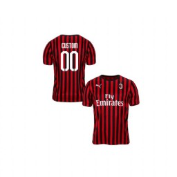 Youth AC Milan 2019-20 Authentic Home #00 Custom Red Black Jersey