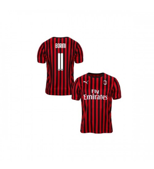 Fabio Borini AC Milan 19-20 Red Black Youth Home Authentic Jersey