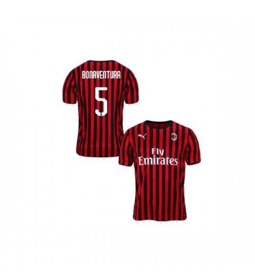 Youth AC Milan 2019-20 Authentic Home #5 Giacomo Bonaventura Red Black Jersey