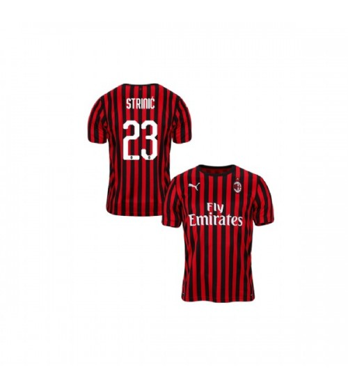 Ivan Strinic AC Milan 19-20 Red Black Youth Home Authentic Jersey