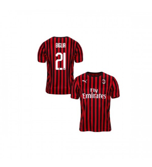Youth AC Milan 2019-20 Authentic Home #21 Lucas Biglia Red Black Jersey