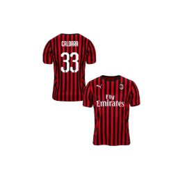Youth AC Milan 2019-20 Authentic Home #33 Mattia Caldara Red Black Jersey
