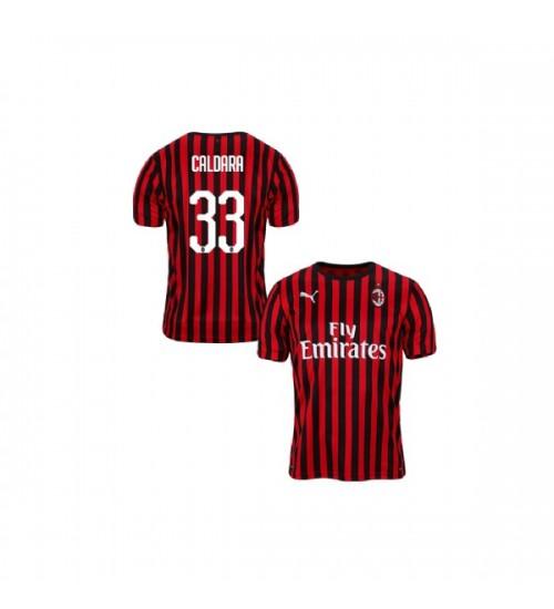Youth AC Milan 2019-20 Replica Home #33 Mattia Caldara Red Black Jersey