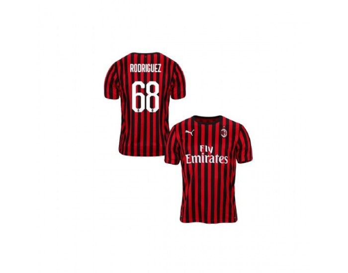 Ricardo Rodriguez AC Milan 19-20 Red Black Youth Home Authentic Jersey