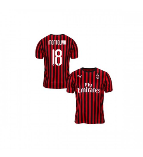 Riccardo Montolivo AC Milan 19-20 Red Black Youth Home Authentic ...