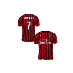 Youth AC Milan 2019-20 Authentic Home #7 Samu Castillejo Red Black Jersey