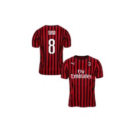 Youth AC Milan 2019-20 Replica Home #8 Suso Red Black Jersey